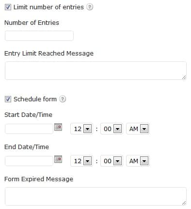 Limited Entries and Schedule forms