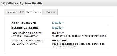 Wordpress System Health Plugin