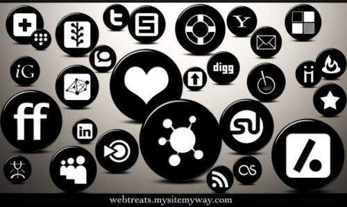 Glossy Black Button Icons