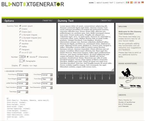 Blind Text Generator