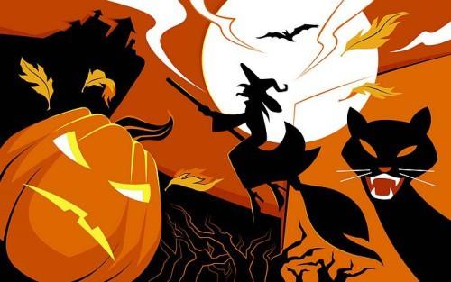 Halloween Wallpaper - Black cat and Jack-o-lanterns