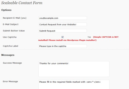 Scaleable Contact Form