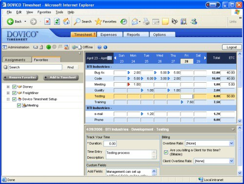 Dovico Timesheet Tracking Software