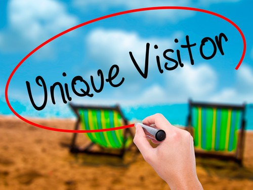 Man Hand writing Unique Visitor with black marker on visual screen