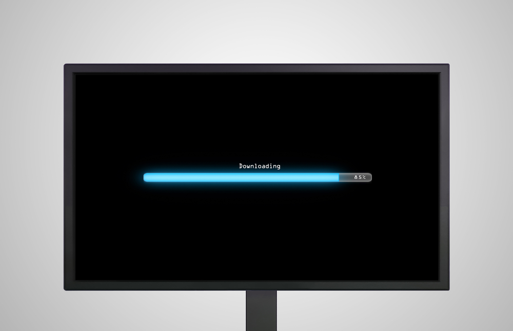 Desktop Monitor display with downloading